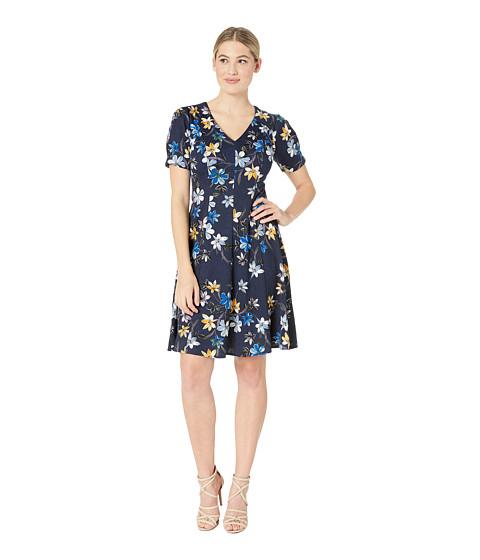 Imbracaminte Femei London Times Puff Sleeve Fit amp Flare Dress NavyBlue