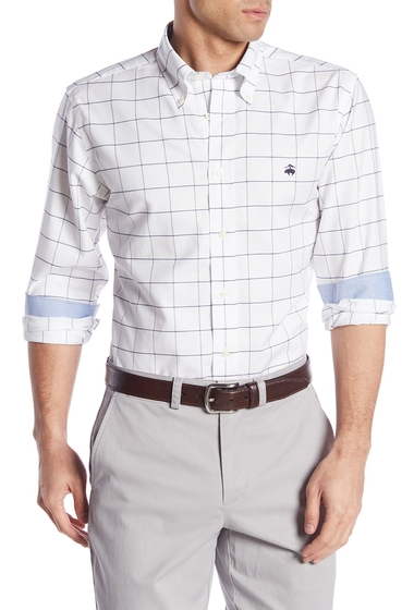 Imbracaminte Barbati Brooks Brothers Front Button Regent Fit Checkered Woven Shirt WHITE