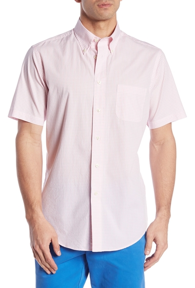 Imbracaminte Barbati Brooks Brothers Short Sleeve Regent Fit Gingham Print Woven Shirt PINK