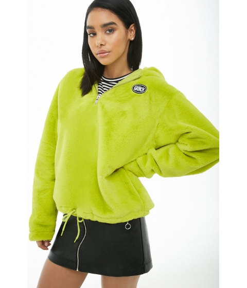 Imbracaminte Femei Forever21 The Grinch Hooded Plush Pullover Jacket LIMEBLACK