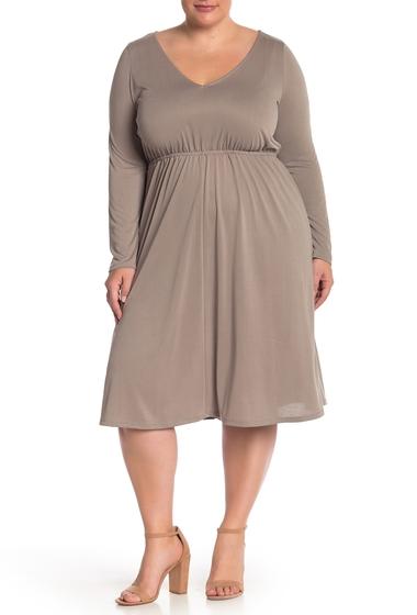 Imbracaminte Femei Abound V-Neck Long Sleeve Midi Dress Plus Size TAN SAFARI