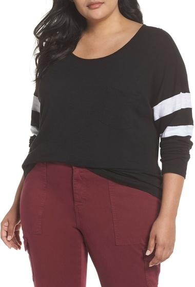 Imbracaminte Femei Caslon Varsity Sleeve Tee Plus Size BLACK- WHITE