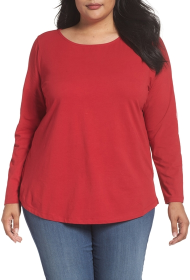 Imbracaminte Femei Sejour Ballet Neck Long Sleeve Tee Plus Size RED CHILI