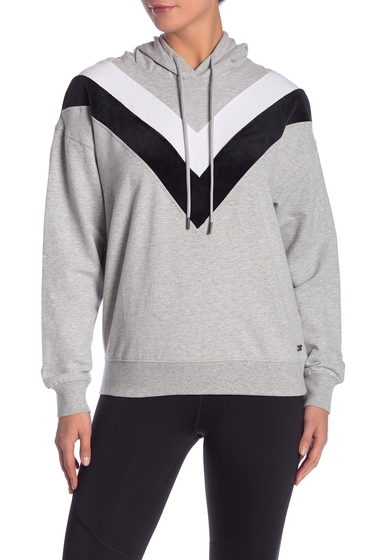 Imbracaminte Femei Marc New York Contrast Velvet Chevron Hoodie LIGHT HEATHER GREY