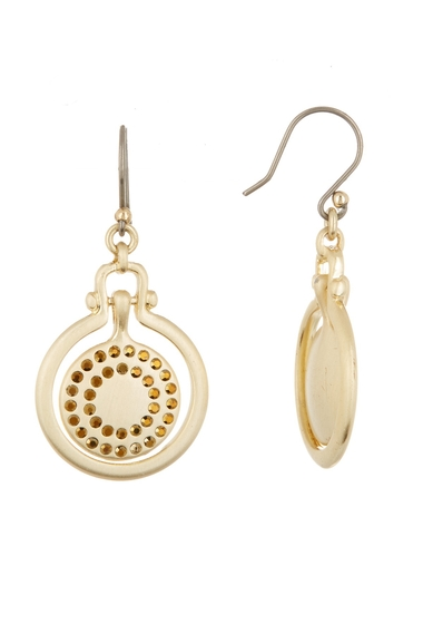Bijuterii Femei Lucky Brand Brushed Pave Orbital Drop Earrings MEDIUM DAR
