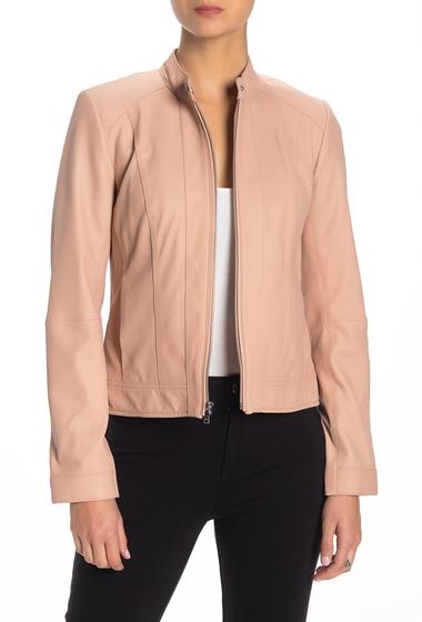 Imbracaminte Femei Cole Haan Front Zip Leather Jacket NUDE