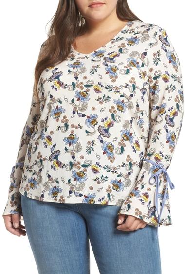 Imbracaminte Femei GLAMOROUS Tie Sleeve Top Plus Size CREAM BLUE FLORAL