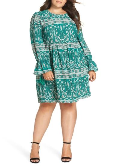 Imbracaminte Femei GLAMOROUS Paisley Smock Dress Plus Size GREEN WHITE PAISLEY