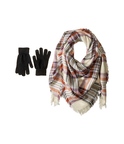 Accesorii Femei Steve Madden Classic Plaid Square Blanket Wrap with Etouch Glove Set Taupe