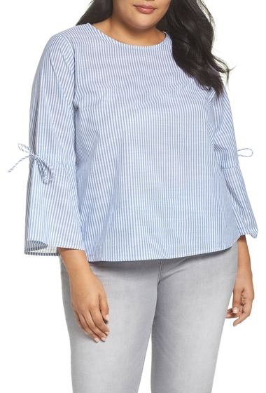 Imbracaminte Femei GLAMOROUS Bell Sleeve Stripe Blouse Plus Size BLUE WHITE STRIPE