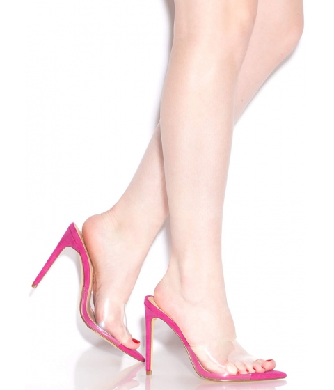 Incaltaminte Femei CheapChic Clearly An Illusion Peep-toe Mule Heels Hotpink