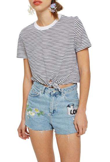 Imbracaminte Femei TOPSHOP Stripe Front Tie Tee NAVY BLUE MULTI