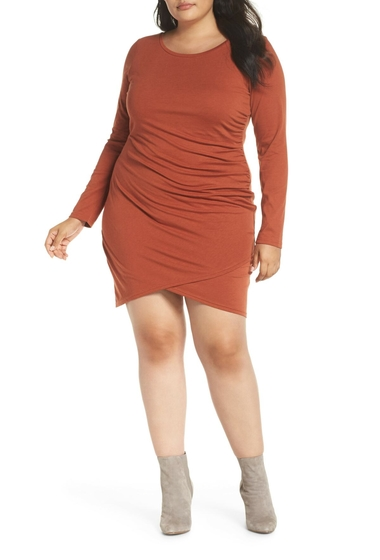 Imbracaminte Femei Leith Ruched Body-Con Dress Plus Size BROWN SPICE