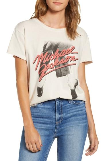 Imbracaminte Femei JUNKFOOD Michael Jackson Dancing Feet Cotton Tee BIRCH
