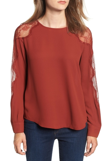 Imbracaminte Femei Chelsea28 Lace Inset Blouse RED FIRE