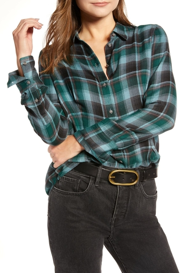 Imbracaminte Femei Treasure Bond Plaid Corset Shirt BLUE SMOKE BLANKET CHECK