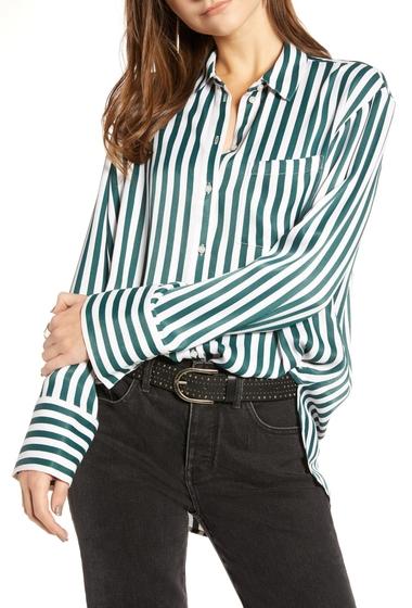 Imbracaminte Femei Treasure Bond Stripe Boyfriend Shirt GREEN BUG WIDE STRIPE