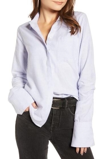 Imbracaminte Femei Treasure Bond Oxford Cotton Classic Shirt BLUE STRIPE