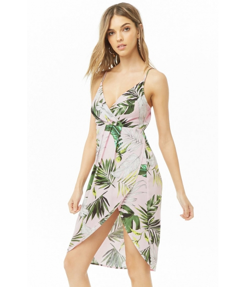 Imbracaminte Femei Forever21 Tropical Mock Wrap Dress PINKGREEN