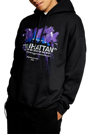 Imbracaminte Barbati TOPMAN Manhattan Graphic Hoodie BLACK