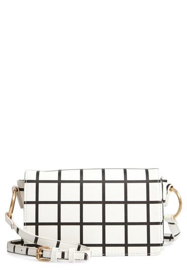 Genti Femei BP Windowpane Check Faux Leather Crossbody Bag BLACKWHITE