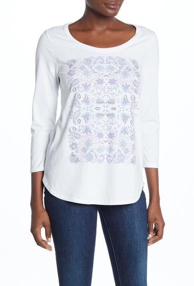 Imbracaminte Femei Lucky Brand Mosaic Print Three Quarter Sleeve Tee LUCKY WHIT