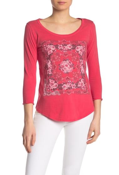 Imbracaminte Femei Lucky Brand Mosaic Print Three Quarter Sleeve Tee RED