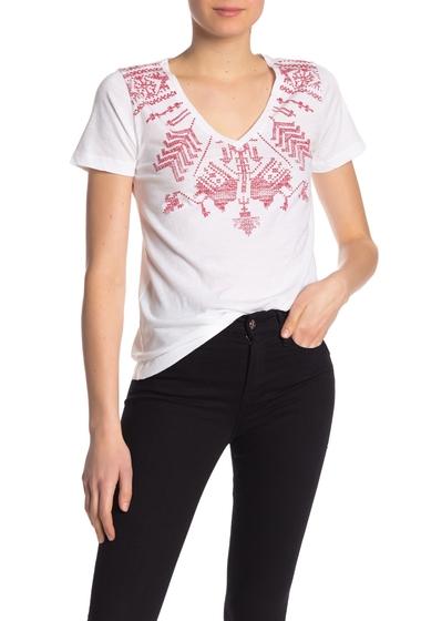Imbracaminte Femei Lucky Brand V-Neck Print Tee LUCKY WHIT