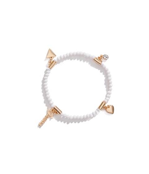 Bijuterii Femei GUESS Logo Charm Beaded Stretch Bracelet white