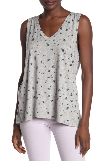 Imbracaminte Femei Michael Stars V-Neck HighLow Tank Top HEATHER GREY