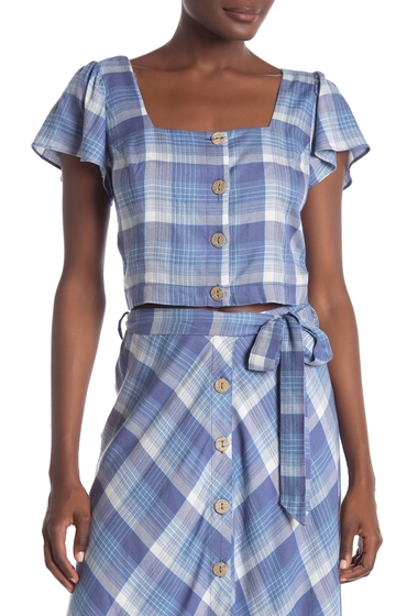 Imbracaminte Femei Willow Clay Plaid Print Cropped Top CHAMBRAY