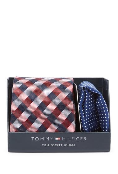 Accesorii Barbati Tommy Hilfiger Silk Blue Ground Plaid Tie Pocket Square Box Set RED