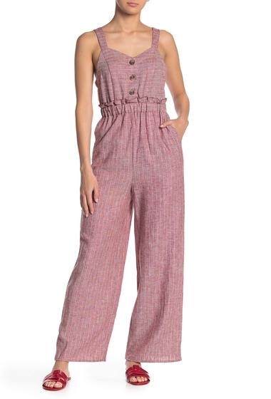Imbracaminte Femei Romeo Juliet Couture Button Front Linen Blend Jumpsuit BRICK IVORY