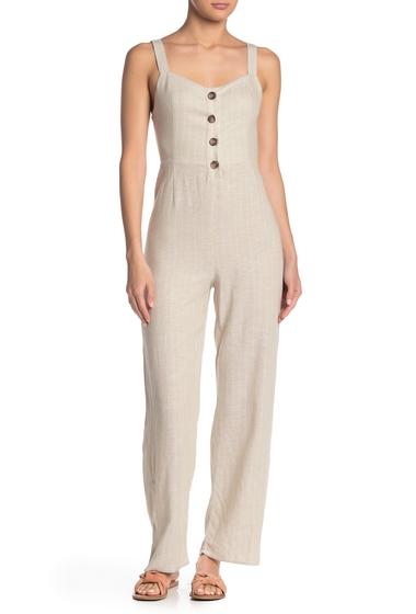 Imbracaminte Femei Romeo Juliet Couture Button Detail Linen Blend Jumpsuit TAUPE WHITE