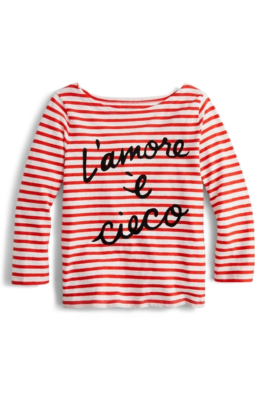 Imbracaminte Femei J Crew Lamore Cieco Stripe Boatneck Tee Regular Plus Size RED IVORY