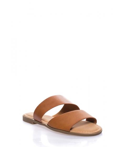 Incaltaminte Femei CheapChic Beach Baby Faux Leather Slide Sandals Tan
