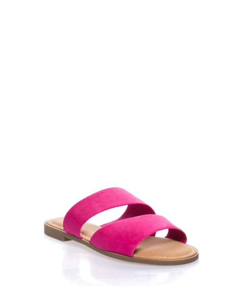 Incaltaminte Femei CheapChic Beach Baby Faux Suede Slide Sandals Fuchsia