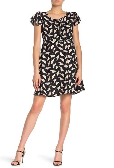 Imbracaminte Femei WEST KEI Birds Ruffle Cap Sleeve Mini Dress BLACK