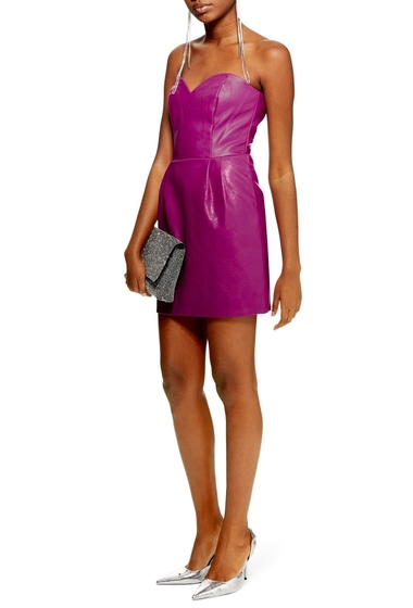 Imbracaminte Femei TOPSHOP Faux Leather Bandeau Minidress PURPLE