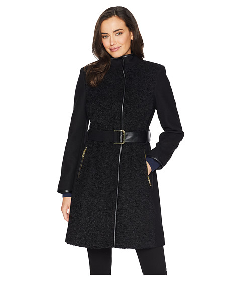 Imbracaminte Femei Vince Camuto Belted Mixed Media Wool Coat R1181 Black