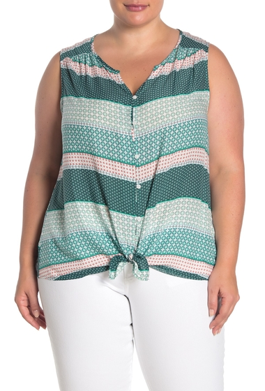 Imbracaminte Femei Como Vintage Sleeveless Tie Front Blouse Plus Size GOLF GREEN COMBO