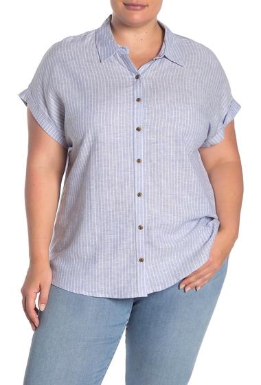 Imbracaminte Femei Como Vintage Cap Sleeve Linen Blend Shirt Plus Size BLUE LAVENDER COMBO