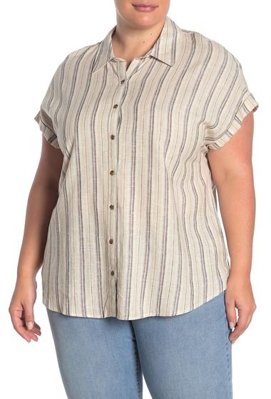 Imbracaminte Femei Como Vintage Cap Sleeve Linen Blend Shirt Plus Size SMOKE GREY COMBO