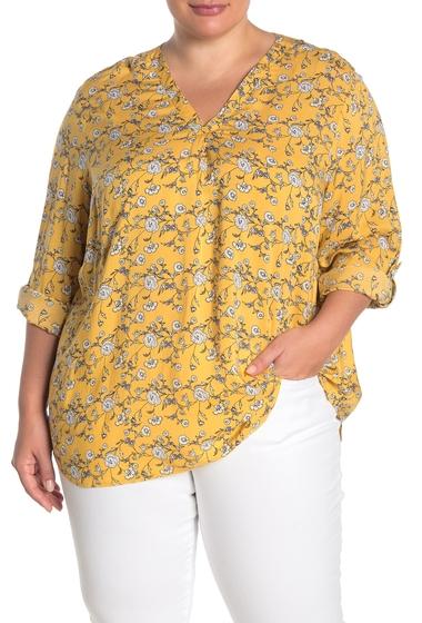 Imbracaminte Femei Como Vintage Rolled Tab V-Neck Blouse Plus Size OCHRE COMBO