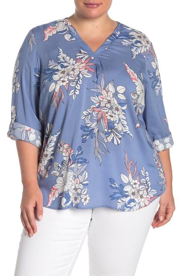Imbracaminte Femei Como Vintage Rolled Tab V-Neck Blouse Plus Size RIVERSIDE COMBO