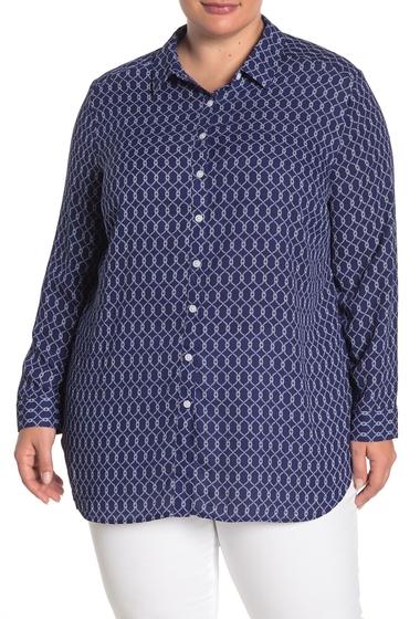 Imbracaminte Femei Como Vintage Long Sleeve Button Front Tunic Plus Size PATRIOT BLUE COMBO
