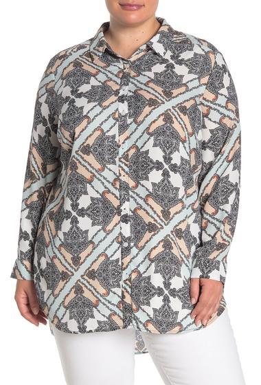 Imbracaminte Femei Como Vintage Long Sleeve Button Front Tunic Plus Size SEAFOAM COMBO