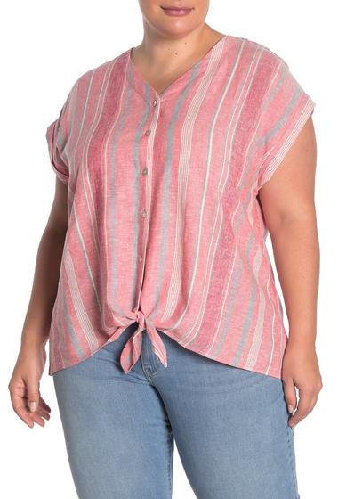 Imbracaminte Femei Como Vintage Tie Front Linen Blend Camp Shirt Plus Size BLUSH COMBO