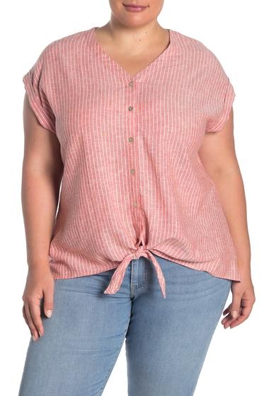 Imbracaminte Femei Como Vintage Tie Front Linen Blend Camp Shirt Plus Size RED COMBO
