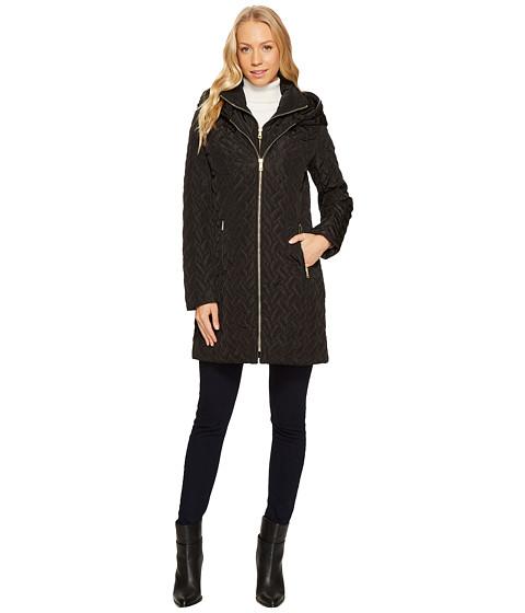 Imbracaminte Femei Cole Haan Hooded Signature Quilt Zip Front Coat Black